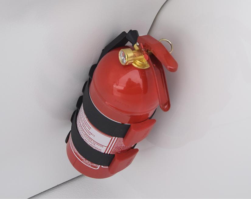 Fire extinguisher in a Bella boat.