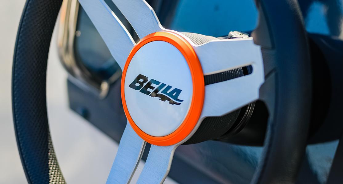 Steering wheel of a Bella boat.